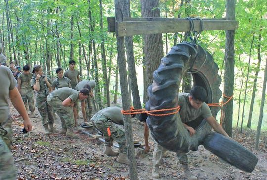 6th Annual Bring the Sting JROTC Raider Competition at Fairview High School on Sept. 14, 2019. Cross Country Rescue (move a simulated 125 lb casualty and heavy equipment through a cross country course that has obstacles)