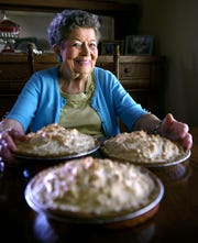 Dorothy Elkins, 93, of Bell Buckle loves to support her hometown private Webb School, so she bakes pies for fundraiser. Pies that are sold for as much as $2,000. Elkins makes a chocolate meringue pie in her home in Bell Buckle, Tenn. on Wednesday, Sept. 18, 2019.