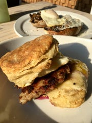 The sausage, egg and cheese  biscuit with jam is the star of the show at Slow Hand Coffee + Bakeshop in East Nashville