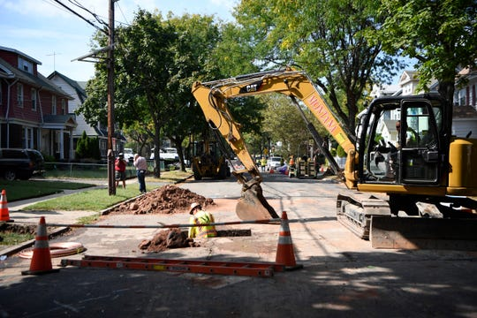 Construction work can be seen along Keer avenue where the city is replacing lead pipes with copper piping on Monday, Sept. 23, 2019, in Newark.