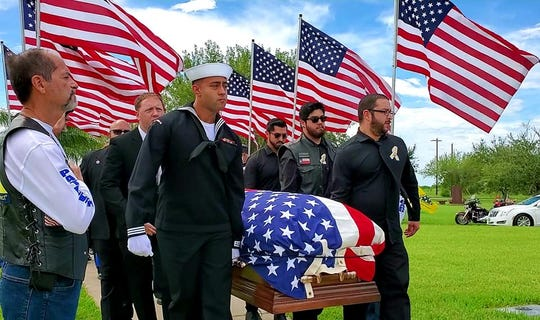 This photo shows the funeral for Michael Vincent De Leon on Sept. 11, 2019. The Navy Corpsman was killed March 16 at the Marine Corps Air Ground Combat Center in Twentynine Palms.