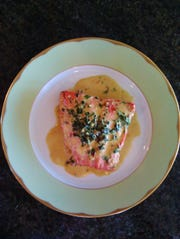 Salmon in White Wine Cream Sauce with Spinach
