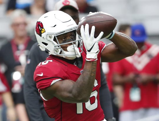 Cardinals receiver Trent Sherfield warms up before a game against the Panthers on Sept. 22 at State Farm Stadium.