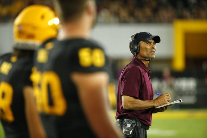 Arizona State University head coach Herm Edwards watches his players from the sidelines during a game against Colorado University at Sun Devil Stadium on September 21, 2019.