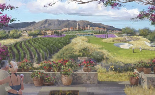 A rendering of the proposed Villages at Vigneto development shows a view of the golf course and vineyards, with its town square in the distance.