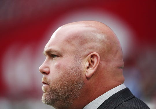 Arizona Cardinals general manager Steve Keim surveys the field before a game against the Carolina Panthers at State Farm Stadium September 22, 2019.