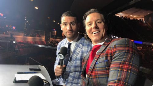 Coyotes broadcaster Tyson Nash (right) poses for a photo with fellow analyst Paul Bissonnette at a 2018-19 game at Gila River Arena.