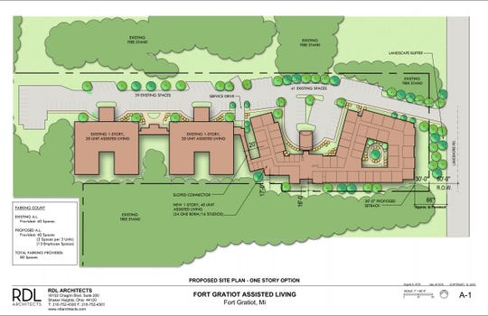 The proposed site plan for the Lakeshore Woods assisted living community expansion.