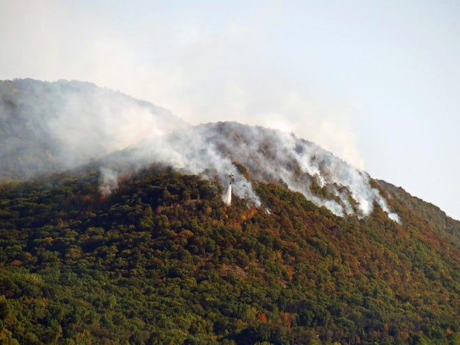 A view of the brush fire at Hudson Highlands State Park on Friday.