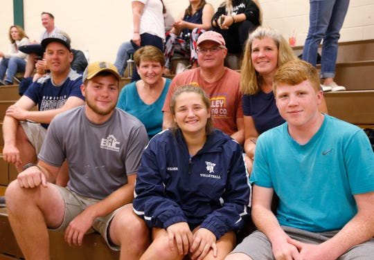 Theodosia Wilson with her family, from left, Bob, Riley, Marlee, Ben, Kathleen and Ben Wilson Jr. following Friday's junior varsity volleyball game versus Spackenkill on September 20, 2019.