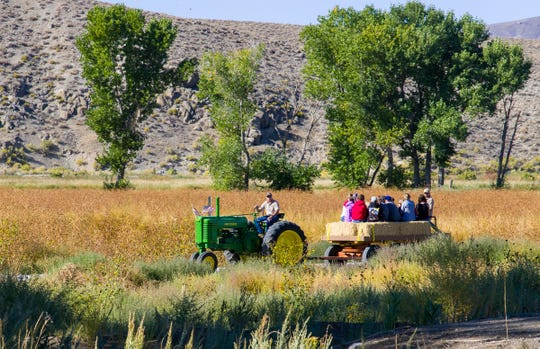 Visitors take a hay ride through the Walker River Recreation Area.