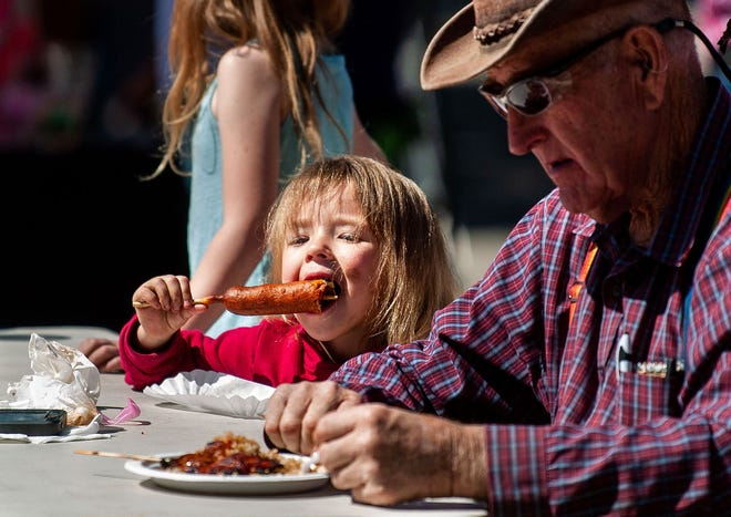 Young and old Dayton Valley Days attendees enjoy the festival's food.
