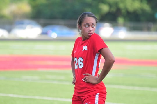 Richmond's Nakala Bennett scored three goals in a 4-3 loss to Franklin County on senior night on Thursday, Sep. 19, 2019.
