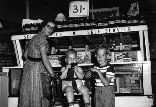 The frozen food case in a Rochester, N.Y. supermarket, circa 1950.