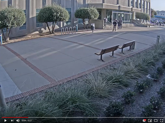 This screen capture shows ICE taking a man in handcuffs away from the Monterey County Superior Court building in Salinas on Sept. 20, 2019.