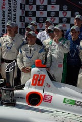 Rookie Colton Herta and his crew display his first-place finish in the Firestone Grand Prix of Monterey at WeatherTech Raceway Laguna Seca Sept. 22, 2019. Herta dominated the race, leading 83 of 90 laps for his Harding Steinbrenner Racing team. The win by Herta, 19, of Valencia, was his second of the year, and his third pole. His victory brings to three the number of Laguna Seca victories won by a Herta – counting wins by his father, Bryan Herta, who won here in 1997 and 1998.