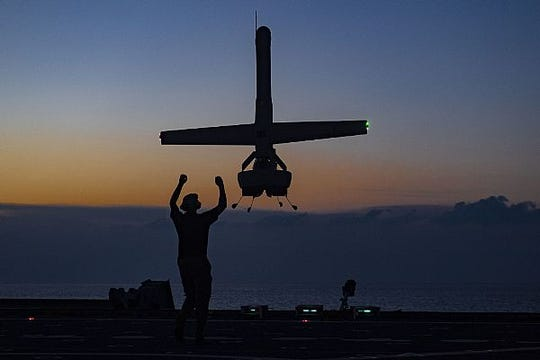 ATLANTIC OCEAN (July 24, 2019) A VBAT vertical take-off and landing (VTOL) unmanned aerial system (UAS) prepares to land on the flight deck of the Military Sealift Command expeditionary fast transport vessel USNS Spearhead (T-EPF 1). VBAT UAS provides improved detection and monitoring to support counter-narcotics missions in the Caribbean and Eastern Pacific.