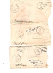 Envelopes that contained letter John Bainbridge sent home while he was in the Army.