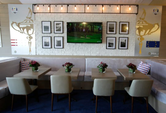 Contemporary looking seating arrangements at a chalet at the Taste of the Ryder Cup 2020, as seen, Monday, September 23, 2019, at Whistling Straits near Haven, Wis.