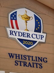 Signs showcasing the upcoming Ryder Cup 2020 were prevalent, Monday, September 23, 2019, at Whistling Straits near Haven, Wis.