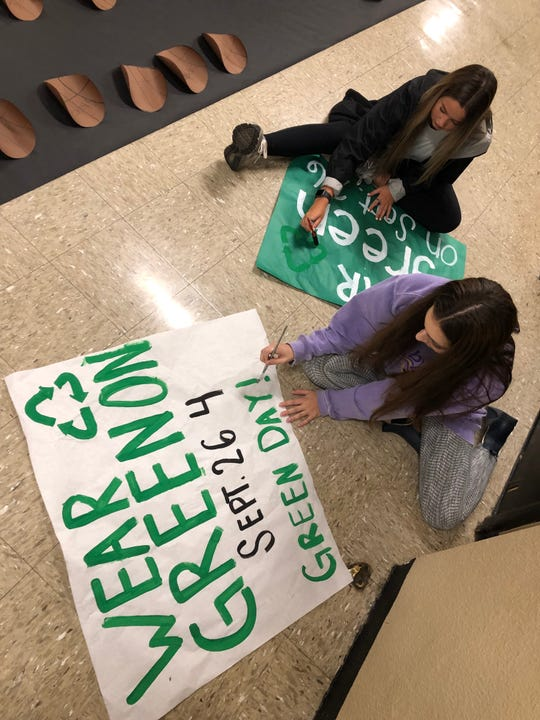 Byrd High School students prepare for Green Day.