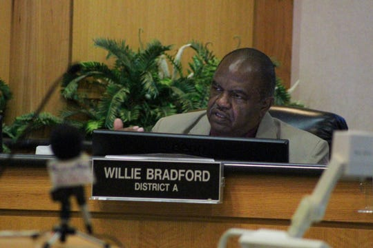 Shreveport councilman Willie Bradford speaks during the city council work session meeting on Monday, Sept. 23.