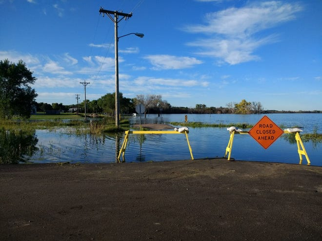Washed out roads are closed in Lake Andes, South Dakota in September 2019 after prolonged flooding wreaked havoc on the city.