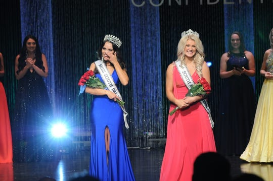 From left, Kalani Jorgensen of Sioux Falls is crowned Miss South Dakota USA 2020 and Izabel Kreger of Canton is crowned Miss South Dakota Teen USA 2020 on Sunday in Brandon.