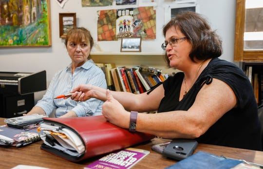 Linda Hamer, an outreach specialist with Burrell Behavioral Health's PATH program, talks about the hurdles faced by the aging homeless population at the Veterans Coming Home Center in Springfield, Mo., on Tuesday, Aug. 27, 2019.