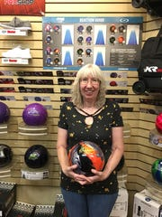 Frances Harper poses after her scorching 509 series at the bowling center in Mesquite last week. A resident of Apple Valley, Utah, she travels 140 miles round-trip every Wednesday to play in the league.