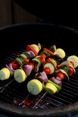 Metal skewers help the veggies cook quicker and more uniformly.