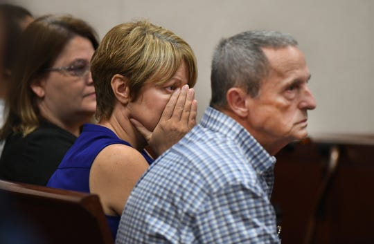 Lena Andrews (center) and her husband Bill Andrews, parents of murder victim Diana Duve, watch the proceedings in the courtroom of Judge Dan Vaughn during a hearing for murder suspect Michael Jones, at the Indian River County Courthouse on Monday, Sept. 23, 2019, in Vero Beach. Jones is accused of killing Duve, a Vero Beach resident on June 20, 2014.