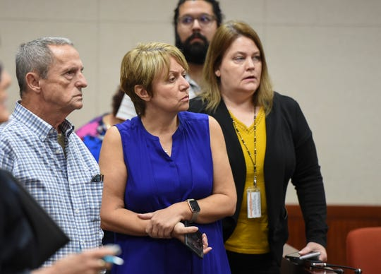 Bill and Lena Andrews (left), parents of murder victim Diana Duve, watch the end of the proceedings in the courtroom of Judge Dan Vaughn during a hearing for murder suspect Michael Jones, at the Indian River County Courthouse on Monday, Sept. 23, 2019, in Vero Beach. Jones is accused of killing Duve, a Vero Beach resident, on June 20, 2014.