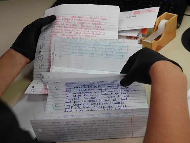 Ventura County Sheriff's Office employees skim through letters arriving for jail inmates to make sure banned topics, such as violent threats, are not included. San Joaquin County Jail inmates will no longer receive incoming personal mail under a similar program but instead will receive a scanned version on a county-issued tablet to help keep contraband out.