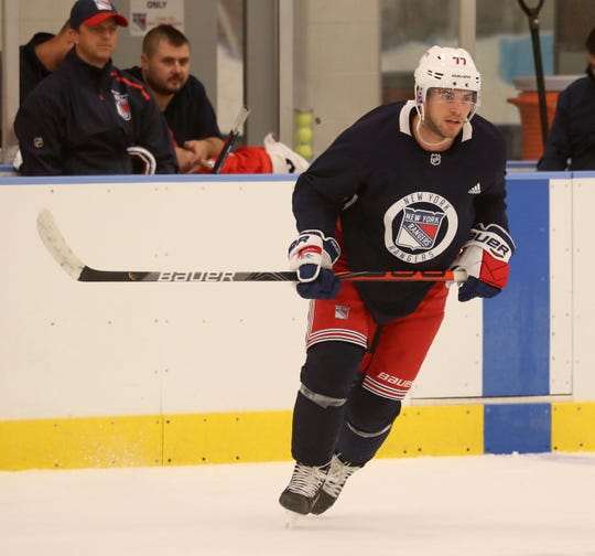 Tony DeAngelo practices with the Rangers at the team's practice facility in Greenburgh Sept. 23, 2019. DeAngelo, who practiced with the team for the first time this pre-season, had been holding out for a new contract.