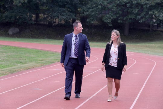 Austin Goldberg, Director of Physical Education, Health, and Athletics for Peekskill Schools, and Ellen Gerace, Director of Special Services, are moving ahead with a plan to have coaches specializing in mental health issues on the sidelines of Peekskill High School sporting events. The two, photographed Sept. 23, 2019, plan on starting the program with this season's varsity football program, and also with the boys and girls basketball this coming winter.