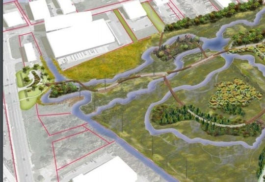 A concept drawing of the new South Wilmington Wetland Park, which adjoins the area a partial human skull was found in June.