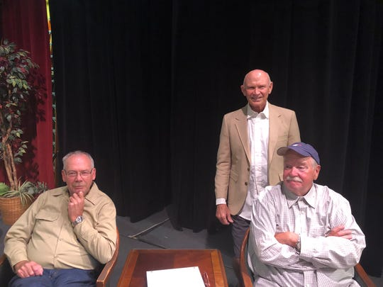"Left to right, Jesse (Tim Hertle), Tom Banks (Jim Hart) and Roy Banks (Sonny Ashley) (on the right) in Jim Black's new play ""The World According to Roy and Jesse"" set to open 7:30 p.m. Oct. 3, 4 & 5 and Oct 10 & 12 at the Royal Theater in Archer City."
