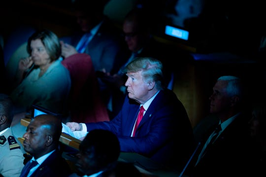 Donald Trump, a resident of the United Nations, attends the United Nations Climate Change Summit in New York on September 23, 2019.