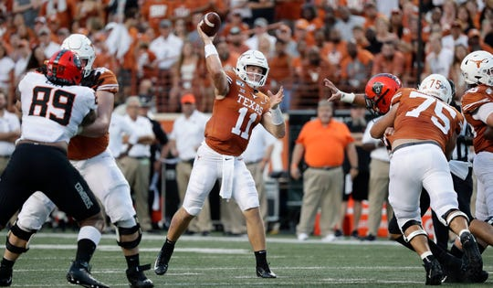 Texas quarterback Sam Ehlinger during the first half against Oklahoma State.