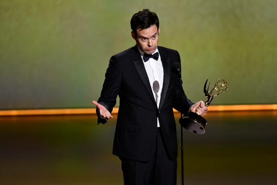 "Bill Hader accepts the Emmy for lead actor in a comedy series - his second in as many years - for ""Barry."""