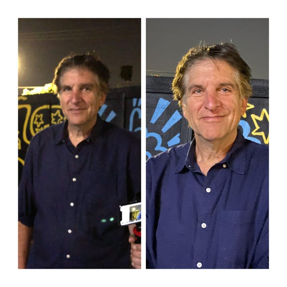 Back to back shots of Jefferson Graham, photographed on iPhone 8 and new iPhone 11 Pro