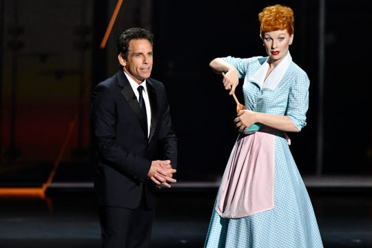 Ben Stiller lumped in Bob Newhart (who's still very much alive) with Lucille Ball and George Burns (represented by wax figures).