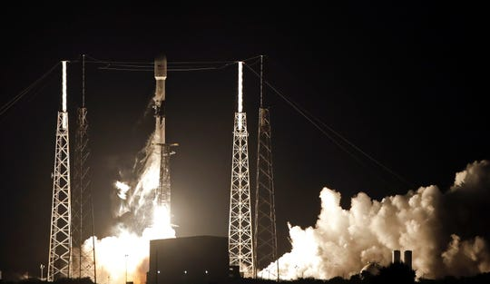 In this May 23, 2019, file photo, a Falcon 9 SpaceX rocket, with a payload of 60 satellites for SpaceX's Starlink broadband network, lifts off from Space Launch Complex 40 at the Cape Canaveral Air Force Station in Cape Canaveral, Fla.