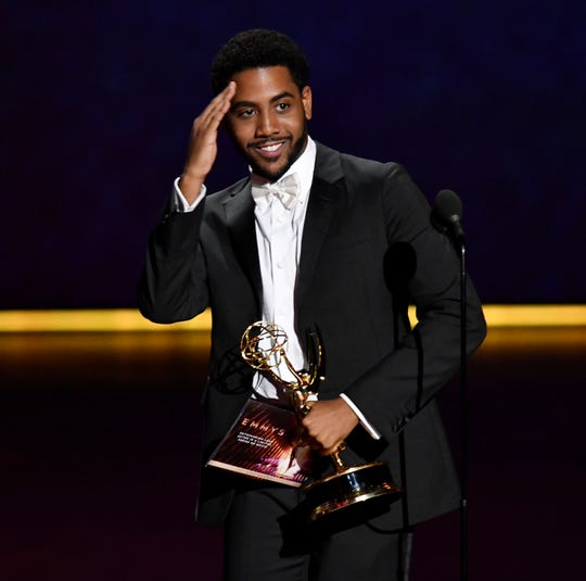 """Jharrel Jerome accepts the award for lead actor in a limited series or movie for his role in """"When They See Us."""""""