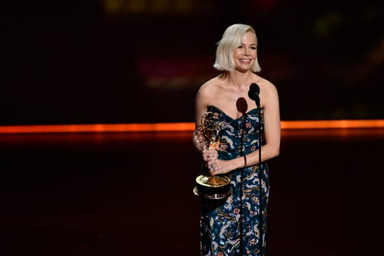 """Michelle Williams accepts the award for lead actress in a limited series or movie for her role in """"Fosse/Verdon"""" on FX."""