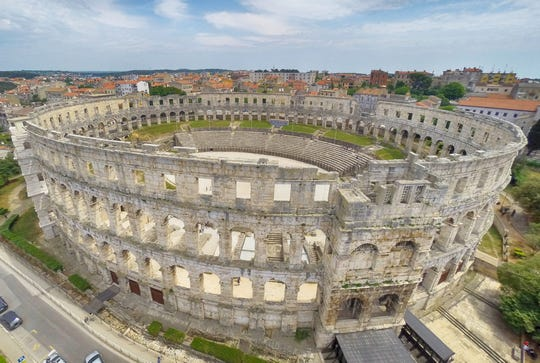 Pula Arena is the only surviving Roman amphitheater with all four side-towers intact.