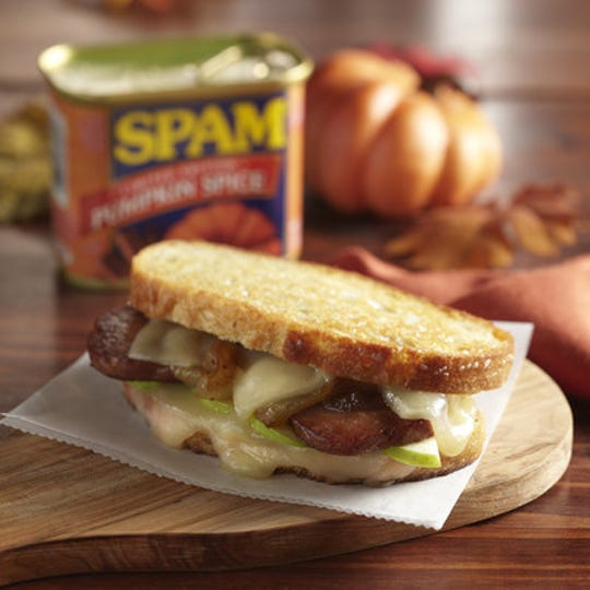 Hormel Foods introduced the Spam Pumpkin Spice variety as a limited-edition fall item in September 2019, along with a recipe for the SPAM Pumpkin Spice, Apple and Cheddar Grilled Cheese with Caramelized Onions sandwich.