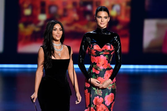 Kim Kardashian West and Kendall Jenner present at the Emmy Awards on Sept. 22, 2019.