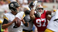 Mason Rudolph threw for two touchdowns, but also had an interception, as the Steelers lost to the 49ers.